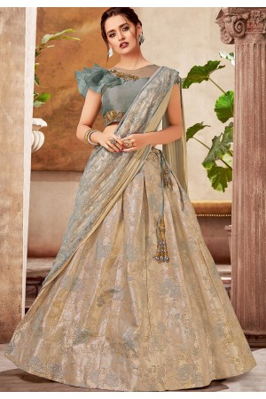 grey shade jacquard silk embroidered lehenga choli 5738