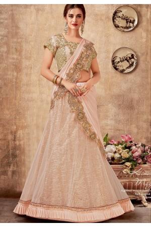 light pink net silk embroidered lehenga choli 5736