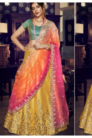 multi color silk embroidered lehenga choli 4162