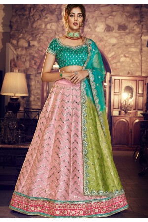 multi color silk embroidered lehenga choli 4163