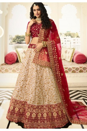 off white maroon silk embroidered lehenga choli 939