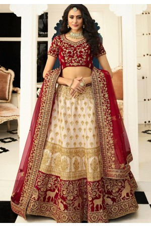 off white maroon silk embroidered lehenga choli 943