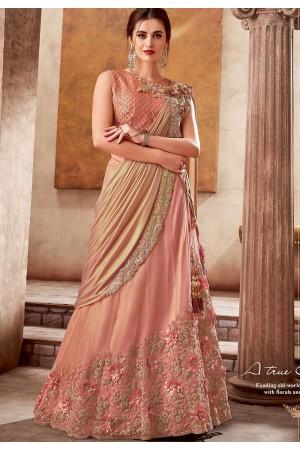 peach silk embroidered designer lehenga choli 5734