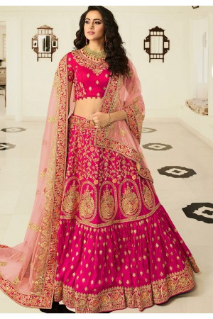 rani pink silk embroidered bridal lehenga choli 937