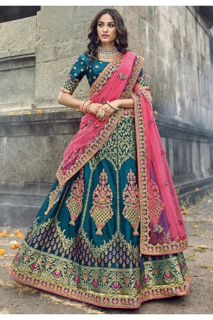 royal blue banarasi silk traditional lehenga choli 3708