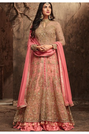Sonal Chauhan Beige and Pink Net party wear anarkali kameez