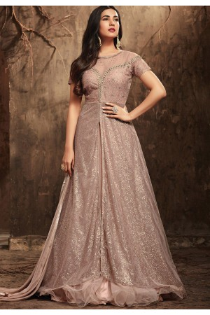 Sonal Chauhan Grey Color net party wear anarkali kameez