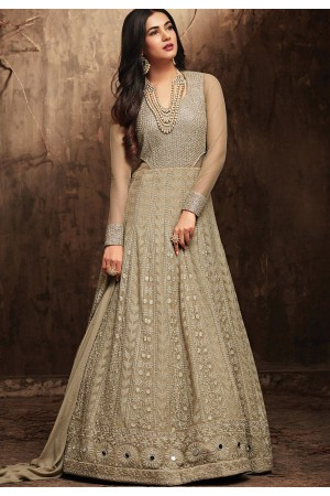 Sonal Chauhan Grey Georgette party wear anarkali kameez
