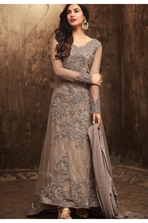 Sonal Chauhan Grey Net party wear anarkali kameez