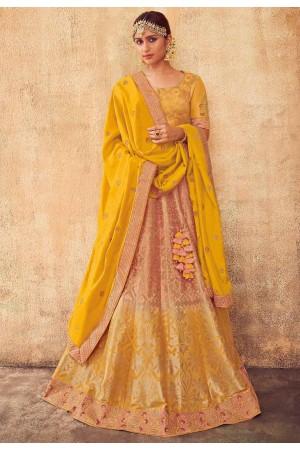 Blush and Yellow color Indian silk wedding lehenga