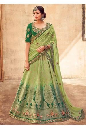 Green color silk Indian wedding lehenga