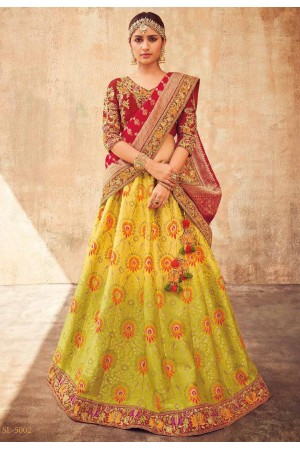 Lime green ad red Indian wedding lehenga