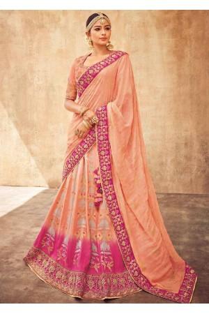 Pastel pink silk Indian wedding lehenga