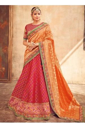 Red and Orange silk Indian wedding lehenga