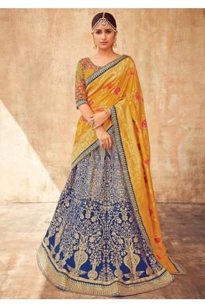 Royal blue and yellow Indian silk wedding lehenga