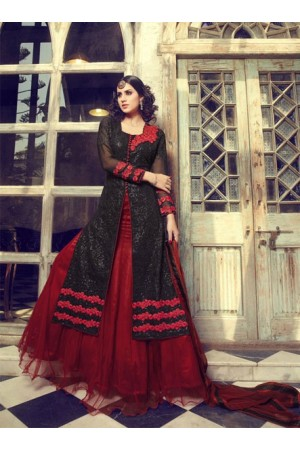 Black and red wedding wear Lehenga style kameez