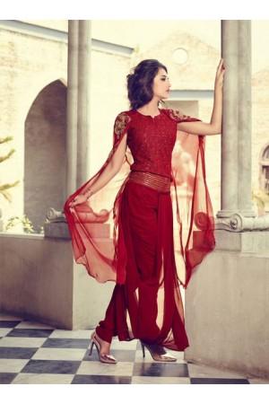 Red color georgette fushion style drape wedding wear suit