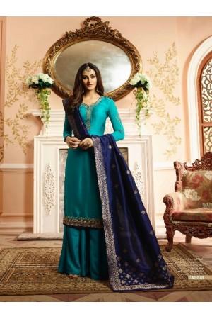 Blue silk festive wear palazzo suit 15101
