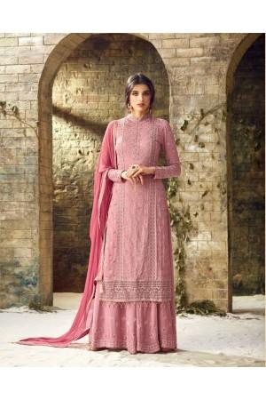 Pink heavy embroidered palazzo salwar kameez 53006