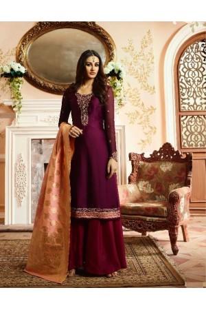 Purple silk festive wear palazzo suit 15106