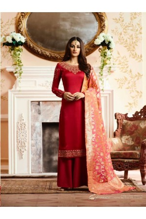 Red silk festive wear palazzo suit 15103