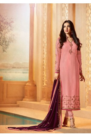 Sonal chauhan pink straight cut georgette churidar 22011