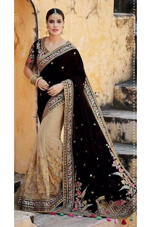 Black and beige tussar silk wedding saree