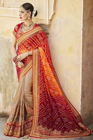 Red and beige color bhandani designer party wear saree