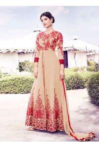 Beige and red georgette party wear salwar anarkali