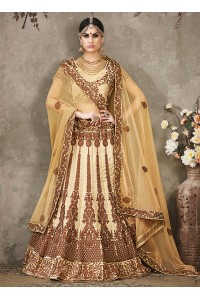 Cream color pure silk bridal lehenga choli