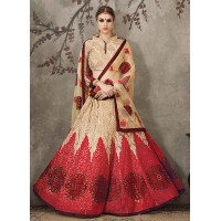Cream and red net bridal lehenga choli