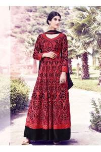 Red and black georgette party wear salwar kameez