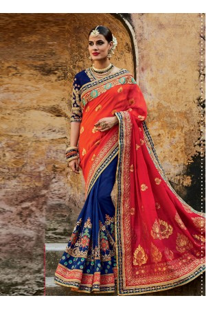 Royal blue and orange jacquard silk indian bridal saree
