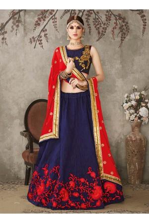 Navy blue and red pure silk bridal lehenga choli