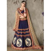 Cream and blue pure silk bridal lehenga choli