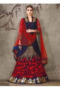 Navy blue silk georgette bridal lehenga choli