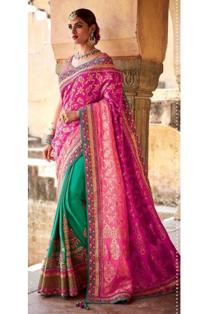 Rama and pink jacquard silk Indian wedding saree