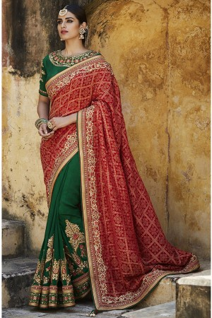 Red and bottle green jacquard gadhchola Indian wedding saree