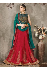 Turquoise and pink silk bridal lehenga choli