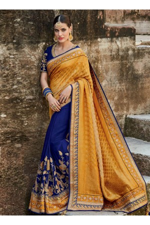 Royal blue and mustard silk indian bridal saree