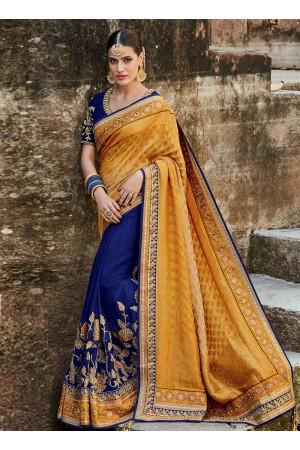 Royal blue and mustard silk indian bridal saree