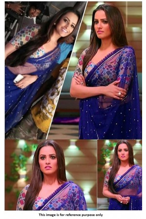 Bollywood Anita Hassanandani Navy blue net saree