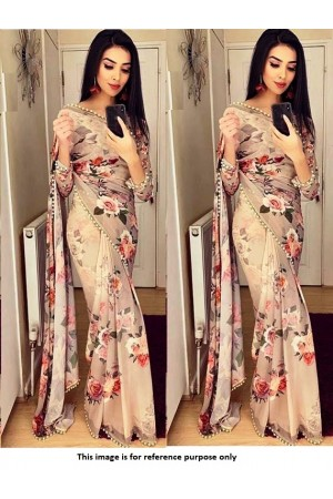 Bollywood Model Georgette Dusty brown floral saree