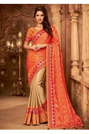 beige and coral orange designer silk saree 2311