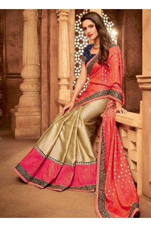 beige and salmon pink designer silk saree 2314