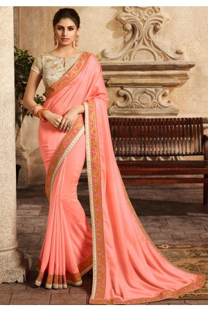 blush peach saree with embroidered blouse 6162