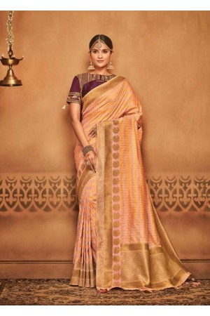 blush pink silk jacquard saree 985a