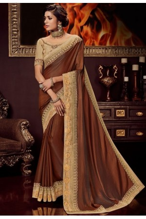 copper brown silk saree with embroidered blouse 10408