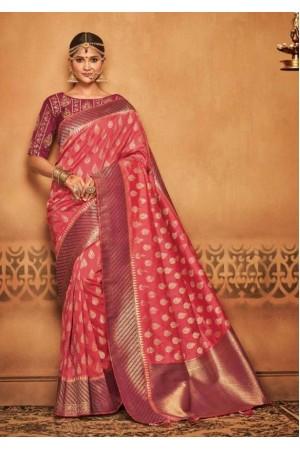 coral pink silk jacquard saree 983