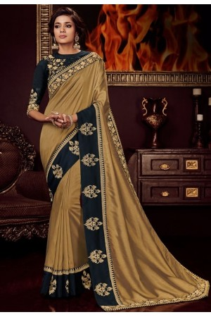golden silk saree with embroidered blouse 10404